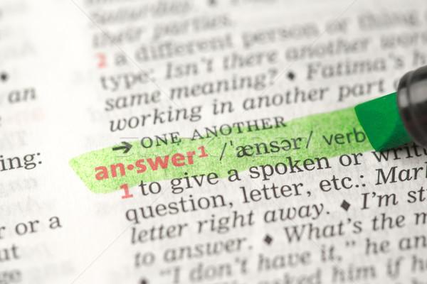 Foto d'archivio: Definizione · rispondere · dizionario · verde · nero · informazioni