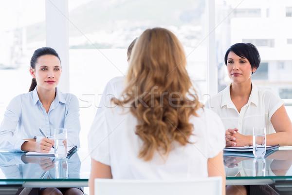 Stockfoto: Kandidaat · sollicitatiegesprek · kantoor · man · vergadering · pak