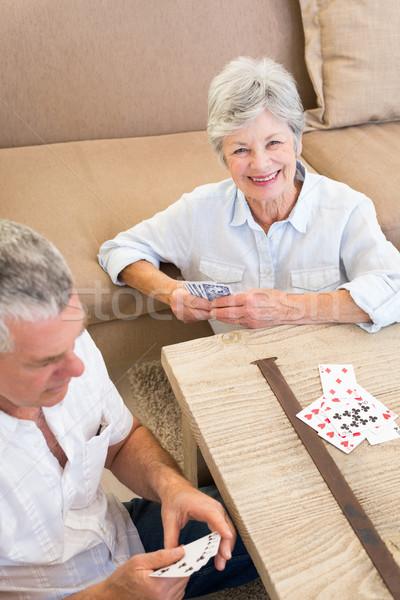 Portré boldog nő játszik kártya magasról fotózva Stock fotó © wavebreak_media