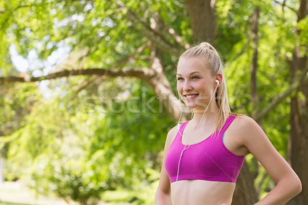 Sani donna sport bra jogging parco Foto d'archivio © wavebreak_media