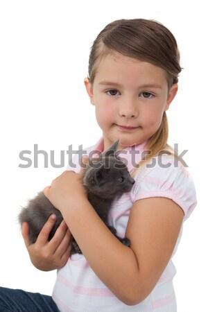 Cute meisje knuffelen grijs kitten witte Stockfoto © wavebreak_media