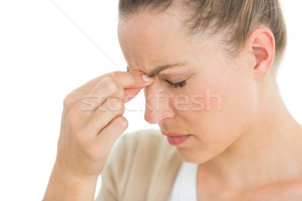 Nő fejfájás orr fehér egészség fej Stock fotó © wavebreak_media