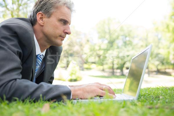 Businessman surfing on laptop in park Stock photo © wavebreak_media