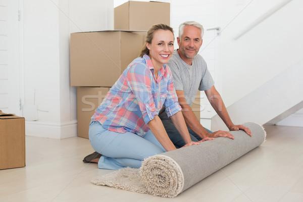 Boldog pár ki új szőnyeg új otthon Stock fotó © wavebreak_media