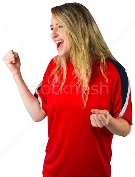 Jubel Fußball Fan rot weiß Fußball Stock foto © wavebreak_media