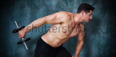 Erős emel nehéz fekete súlyzó mögött Stock fotó © wavebreak_media