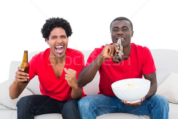 Stock fotó: Futball · szurkolók · piros · éljenez · kanapé · pattogatott · kukorica