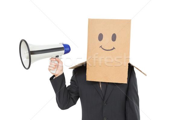 Empresário caixa cabeça megafone branco Foto stock © wavebreak_media