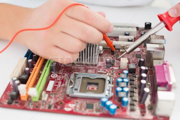 Technikus dolgozik törött processzor forrasztás vasaló Stock fotó © wavebreak_media
