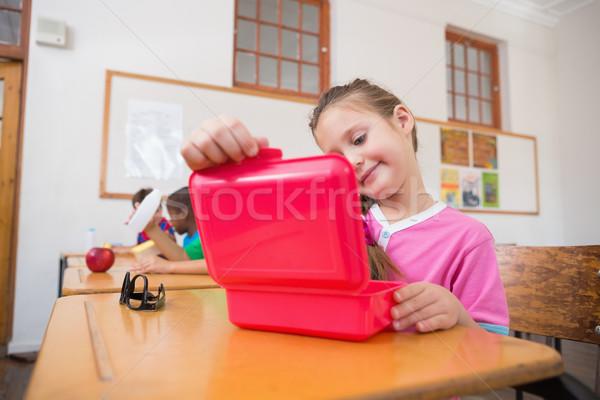 Cute opening lunchbox bureau klas Stockfoto © wavebreak_media