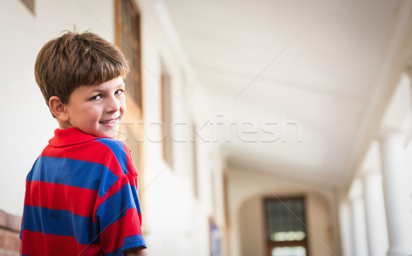 Cute улыбаясь камеры коридор школы Сток-фото © wavebreak_media