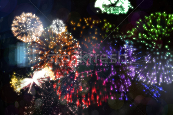 Colourful fireworks exploding on black background Stock photo © wavebreak_media