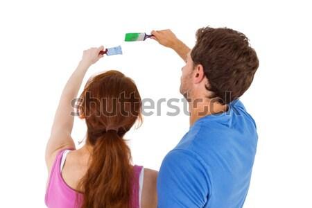 пару оба краской человека счастливым Сток-фото © wavebreak_media