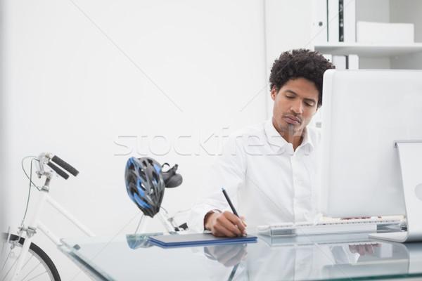 Stock fotó: Fókuszált · designer · rajz · számítógép · terv · laptop