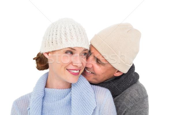 Przypadkowy para ciepłe ubrania biały kobieta miłości Zdjęcia stock © wavebreak_media