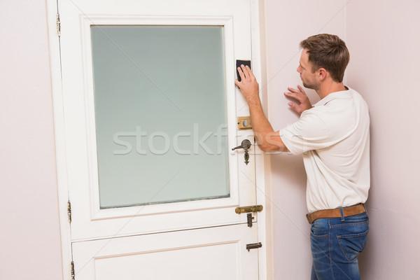 Man hand sanding the door before refinishing Stock photo © wavebreak_media