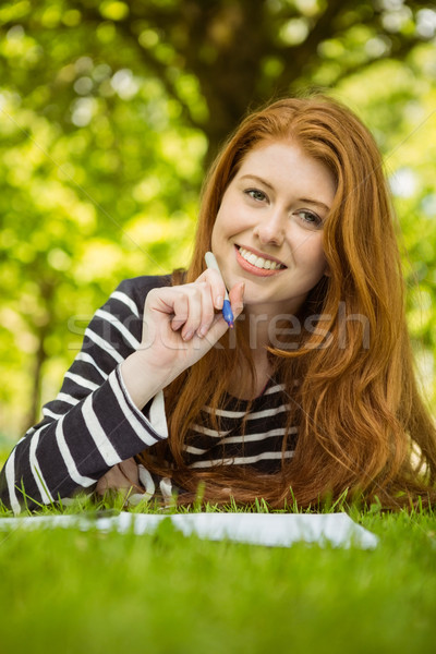 Vrouwelijke student huiswerk park jonge Stockfoto © wavebreak_media