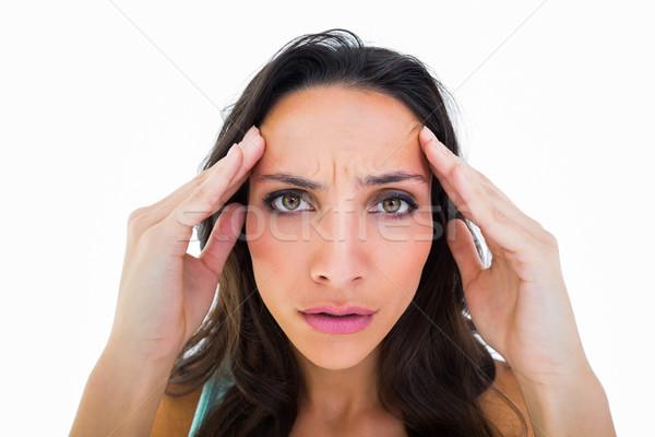 Bella bruna mal di testa bianco salute femminile Foto d'archivio © wavebreak_media