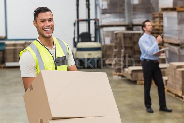 Stockfoto: Glimlachend · magazijn · werknemer · groot · man