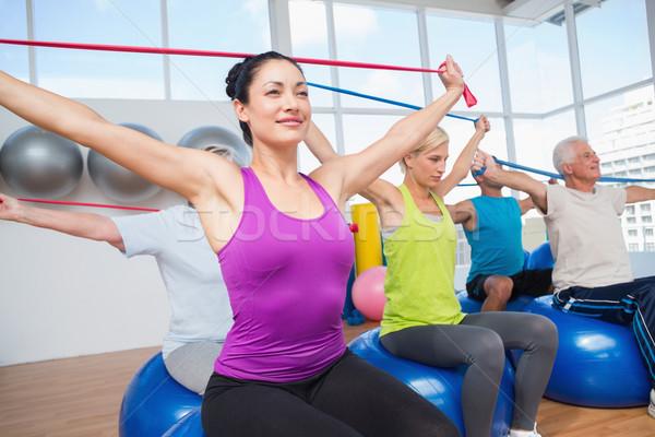 Mensen weerstand gymnasium geschikt fitness Stockfoto © wavebreak_media