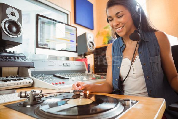 Portré egyetemi hallgató fordul asztal stúdió rádió Stock fotó © wavebreak_media