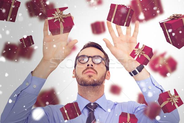 összetett kép üzletember karok a magasban ujjak ki Stock fotó © wavebreak_media