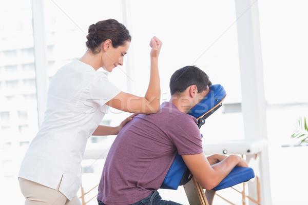 ストックフォト: 男 · 戻る · マッサージ · 医療 · オフィス · 女性