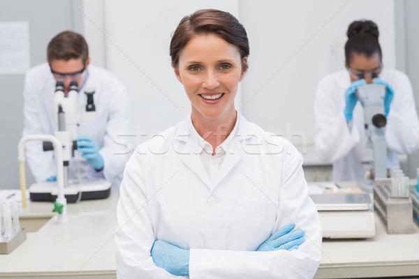 счастливым ученого улыбаясь камеры лаборатория Сток-фото © wavebreak_media