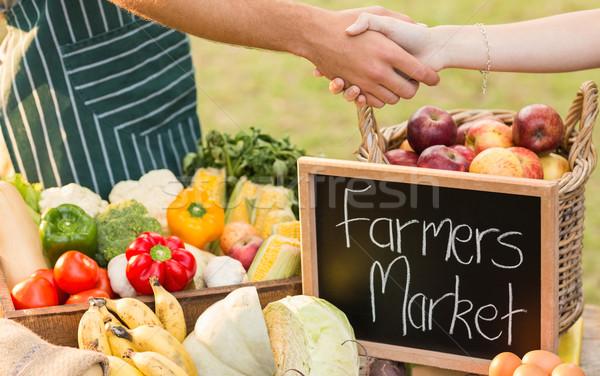 Agriculteur clientèle main homme table Photo stock © wavebreak_media