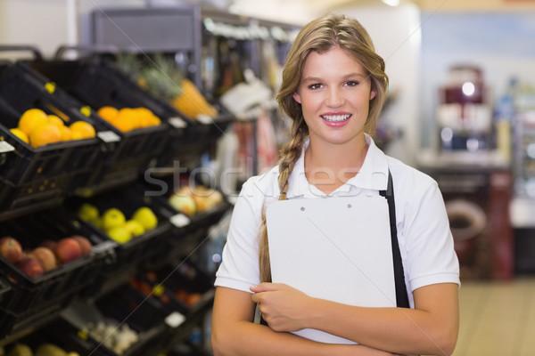 Portré személyzet nő vágólap kezek áruház Stock fotó © wavebreak_media