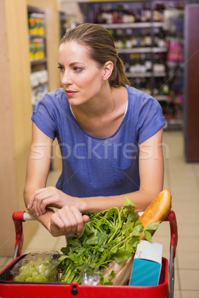 Stok fotoğraf: Güzel · kadın · itme · kadın · ekmek · pazar