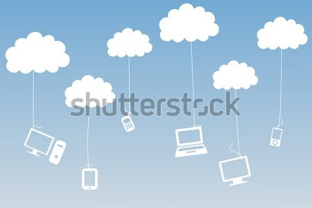 Composite image of media devices hanging from clouds Stock photo © wavebreak_media