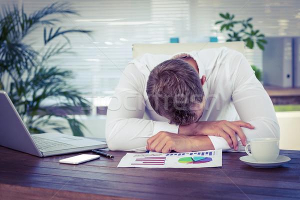 Esgotado empresário adormecido secretária escritório computador Foto stock © wavebreak_media