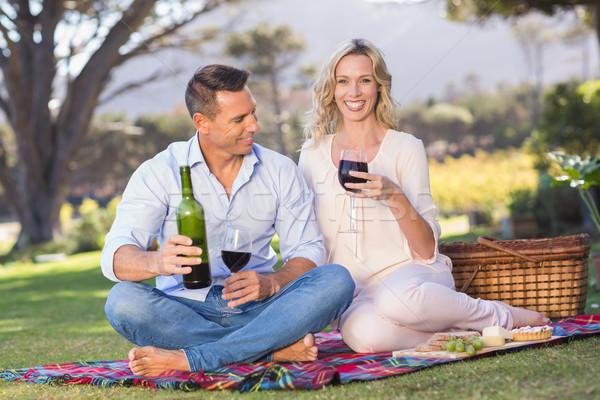 Retrato sorridente casal sessão toalha de piquenique potável Foto stock © wavebreak_media