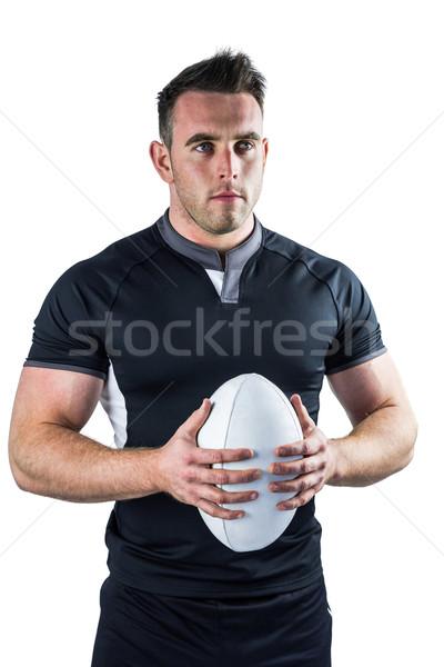Twardy rugby gracz piłka biały Zdjęcia stock © wavebreak_media