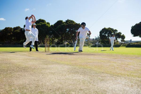 Players playing cricket match at field Stock photo © wavebreak_media