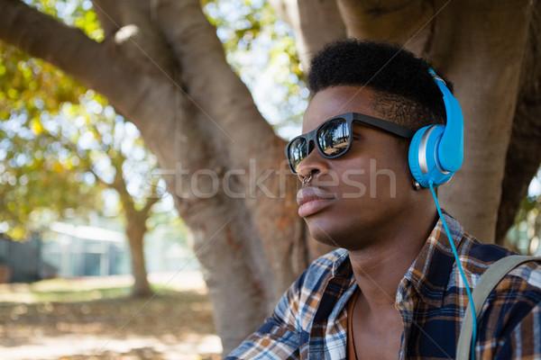 Moço óculos de sol fones de ouvido ouvir música parque árvore Foto stock © wavebreak_media