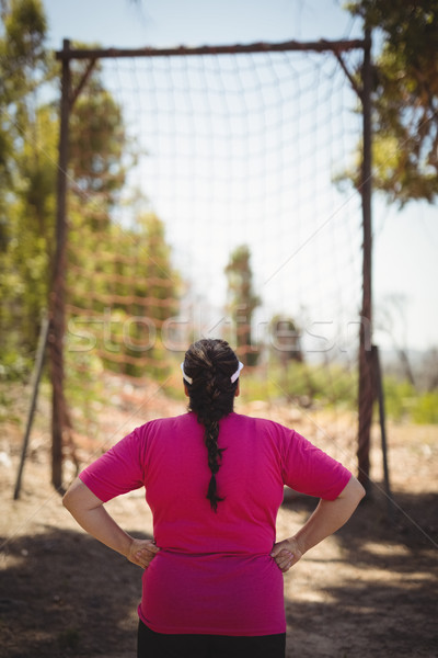 Rear view of woman looking at net during obstacle course Stock photo © wavebreak_media