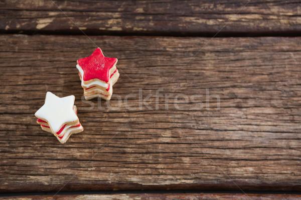 красный белый сахар Cookies деревянный стол Сток-фото © wavebreak_media