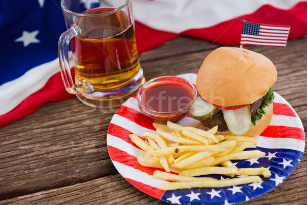 Burger ahşap masa gıda mavi Stok fotoğraf © wavebreak_media