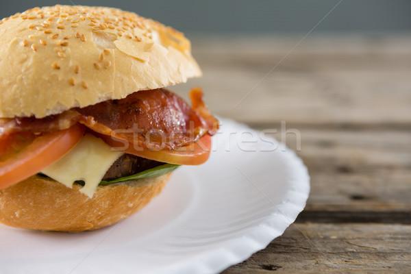 Hamburger hizmet plaka tablo et beyaz Stok fotoğraf © wavebreak_media