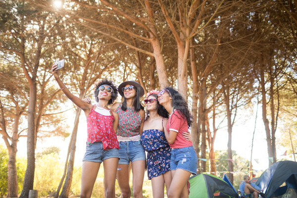 Boldog női barátok elvesz táborhely áll Stock fotó © wavebreak_media