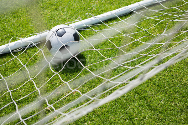 High angle view of soccer ball in goal post Stock photo © wavebreak_media