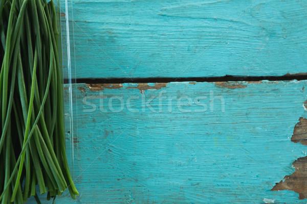 Knoflook bieslook hout tabel Stockfoto © wavebreak_media