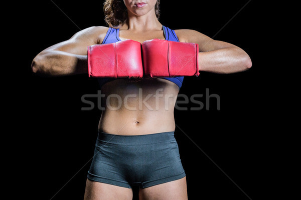 Midsection of boxer flexing stance Stock photo © wavebreak_media