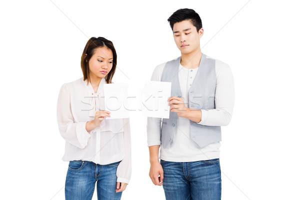 Casal olhando projeto de lei preocupado branco cara Foto stock © wavebreak_media