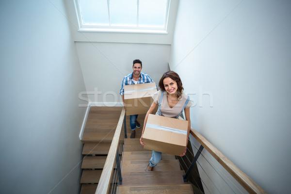 Magasról fotózva portré mosolyog pár tart karton Stock fotó © wavebreak_media