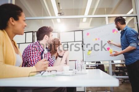 Boldog igazgató magyaráz kollégák kreatív iroda Stock fotó © wavebreak_media