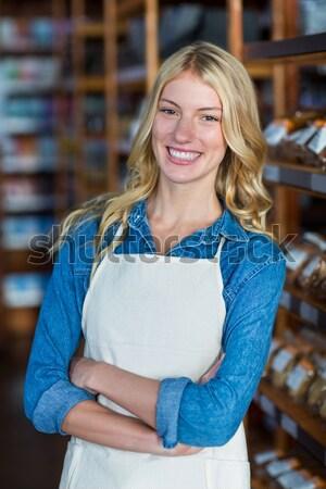 портрет улыбаясь официантка Постоянный кафе Сток-фото © wavebreak_media