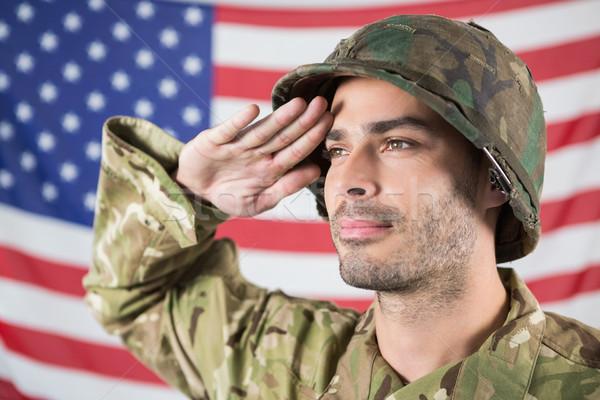 żołnierz amerykańską flagę człowiek bezpieczeństwa wojny banderą Zdjęcia stock © wavebreak_media